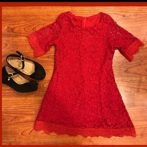 Other - Girls toddler red lace dress.
